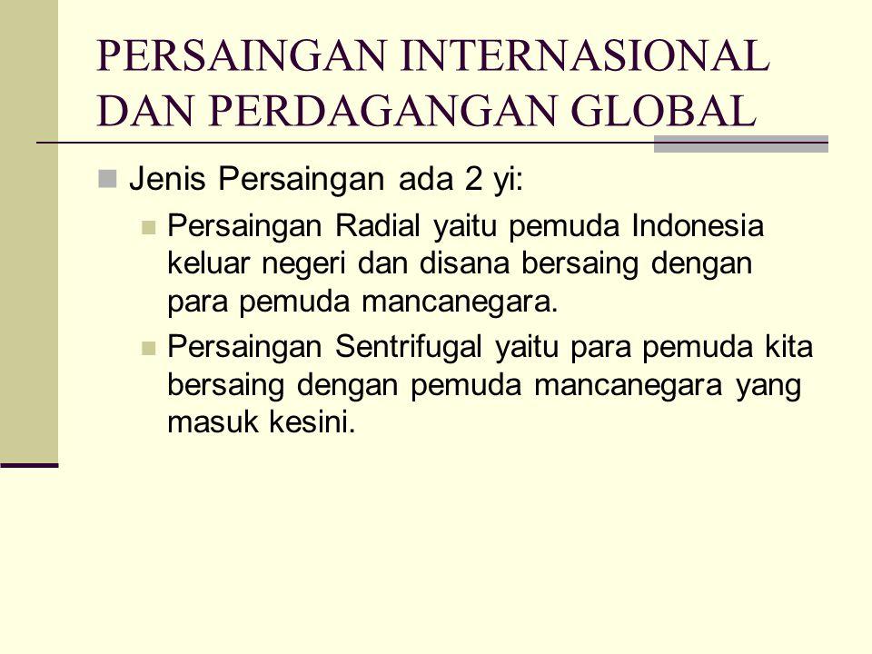 PERSAINGAN INTERNASIONAL DAN PERDAGANGAN GLOBAL Jenis Persaingan ada 2 yi: Persaingan Radial yaitu pemuda Indonesia keluar negeri dan disana bersaing dengan para pemuda mancanegara.