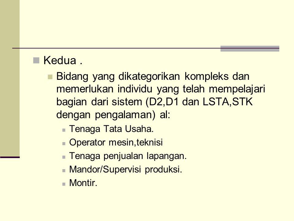 Kedua. Bidang yang dikategorikan kompleks dan memerlukan individu yang telah mempelajari bagian dari sistem (D2,D1 dan LSTA,STK dengan pengalaman) al: