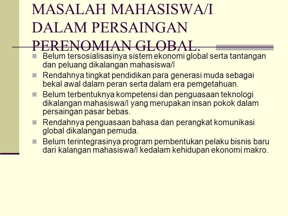 MASALAH MAHASISWA/I DALAM PERSAINGAN PERENOMIAN GLOBAL. Belum tersosialisasinya sistem ekonomi global serta tantangan dan peluang dikalangan mahasiswa