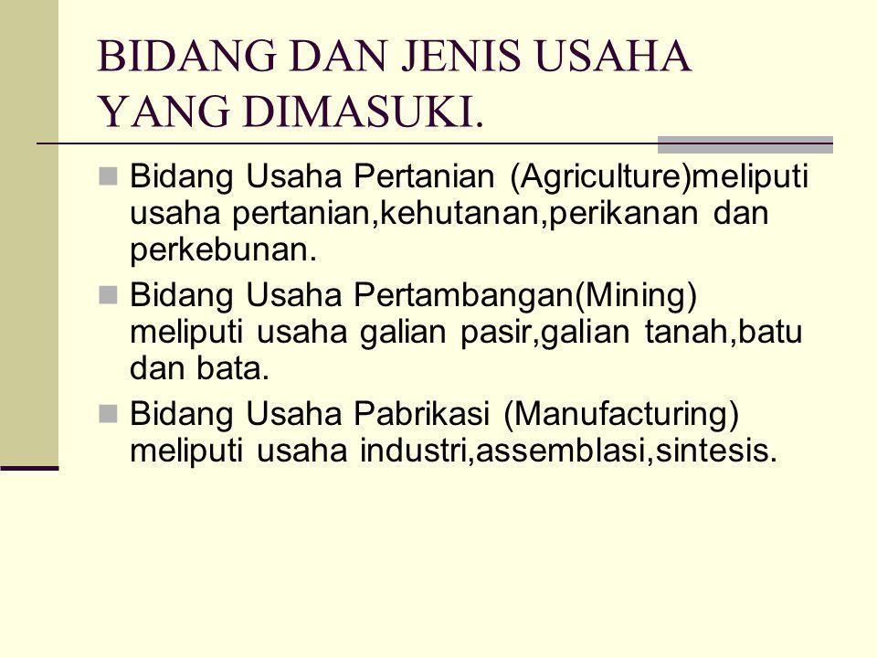 BIDANG DAN JENIS USAHA YANG DIMASUKI. Bidang Usaha Pertanian (Agriculture)meliputi usaha pertanian,kehutanan,perikanan dan perkebunan. Bidang Usaha Pe