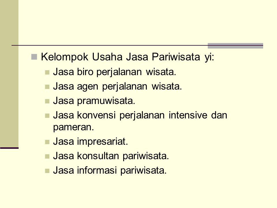 Kelompok Usaha Jasa Pariwisata yi: Jasa biro perjalanan wisata.