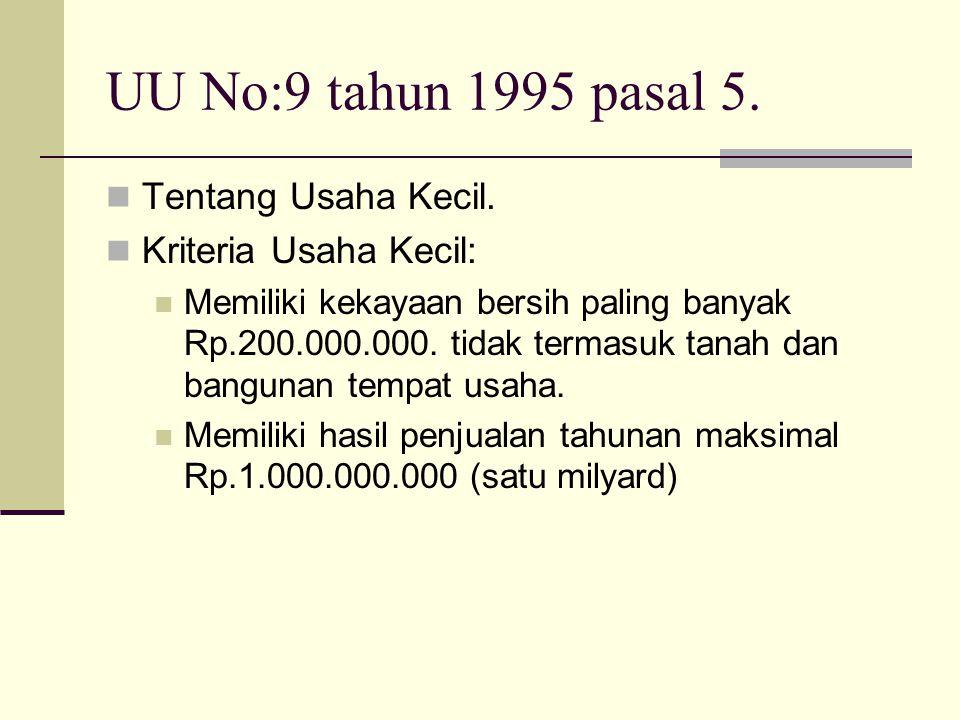 UU No:9 tahun 1995 pasal 5. Tentang Usaha Kecil. Kriteria Usaha Kecil: Memiliki kekayaan bersih paling banyak Rp.200.000.000. tidak termasuk tanah dan