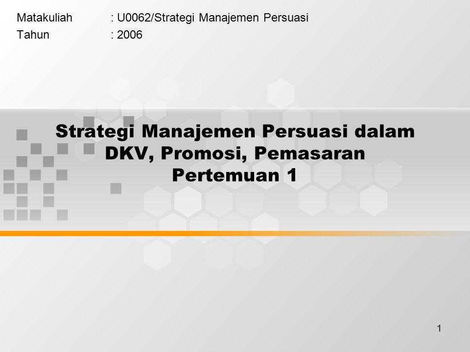 1 Strategi Manajemen Persuasi dalam DKV, Promosi, Pemasaran Pertemuan 1 Matakuliah: U0062/Strategi Manajemen Persuasi Tahun: 2006