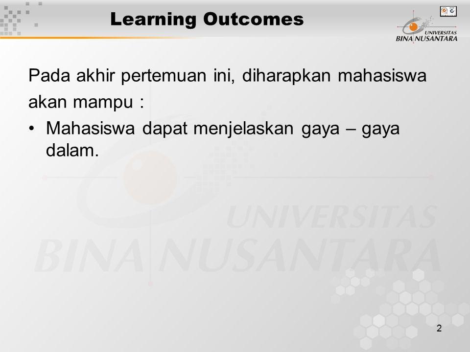 2 Learning Outcomes Pada akhir pertemuan ini, diharapkan mahasiswa akan mampu : Mahasiswa dapat menjelaskan gaya – gaya dalam.