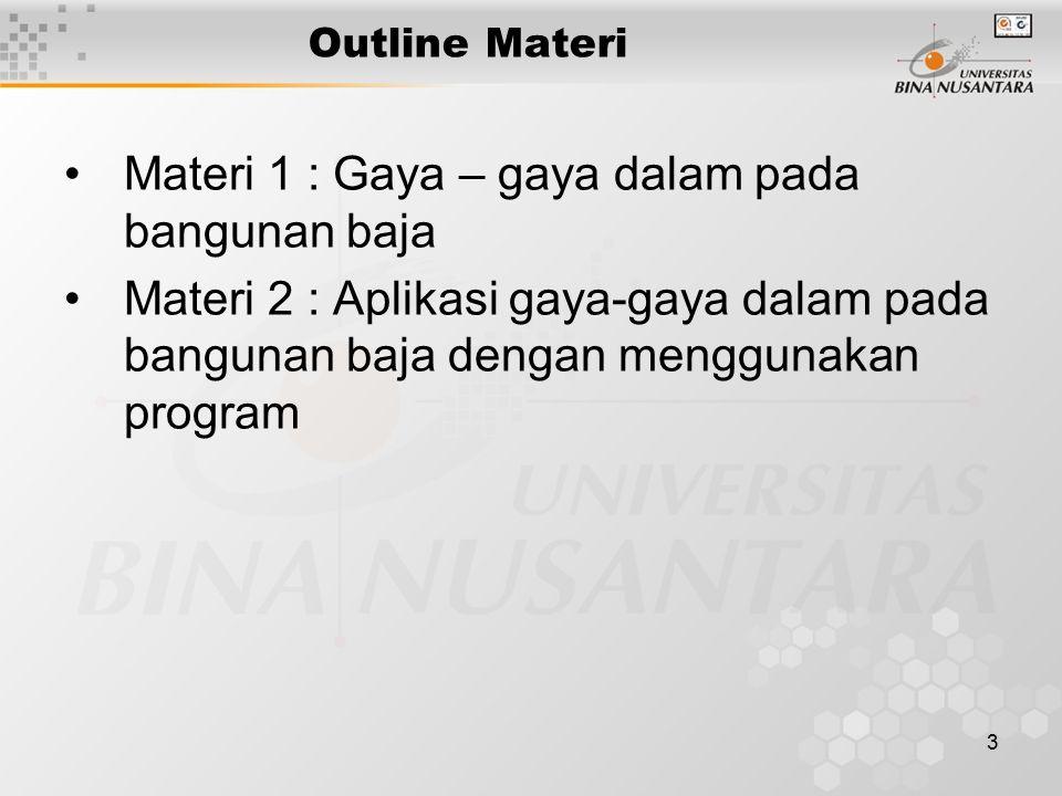 3 Outline Materi Materi 1 : Gaya – gaya dalam pada bangunan baja Materi 2 : Aplikasi gaya-gaya dalam pada bangunan baja dengan menggunakan program