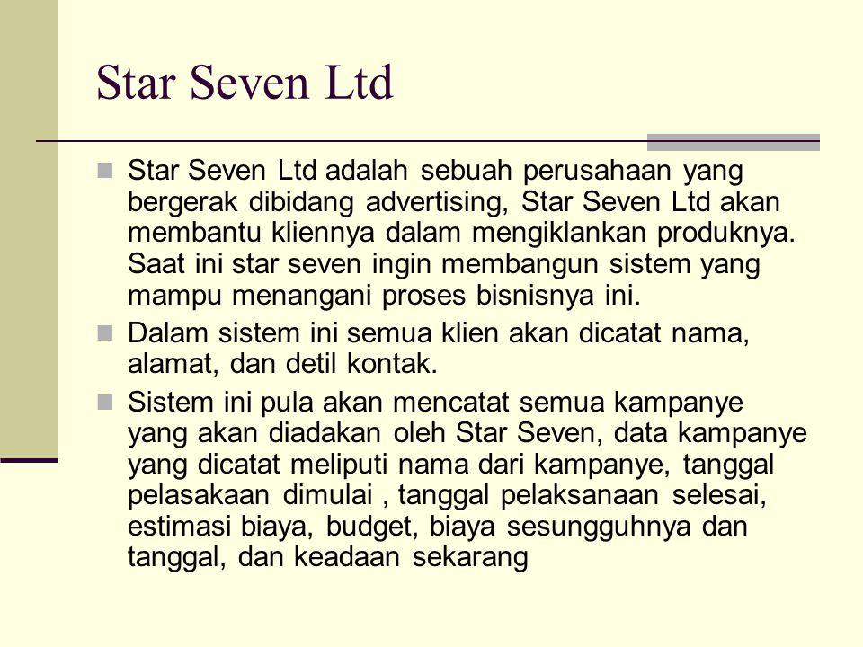 Star Seven Ltd Star Seven Ltd adalah sebuah perusahaan yang bergerak dibidang advertising, Star Seven Ltd akan membantu kliennya dalam mengiklankan pr