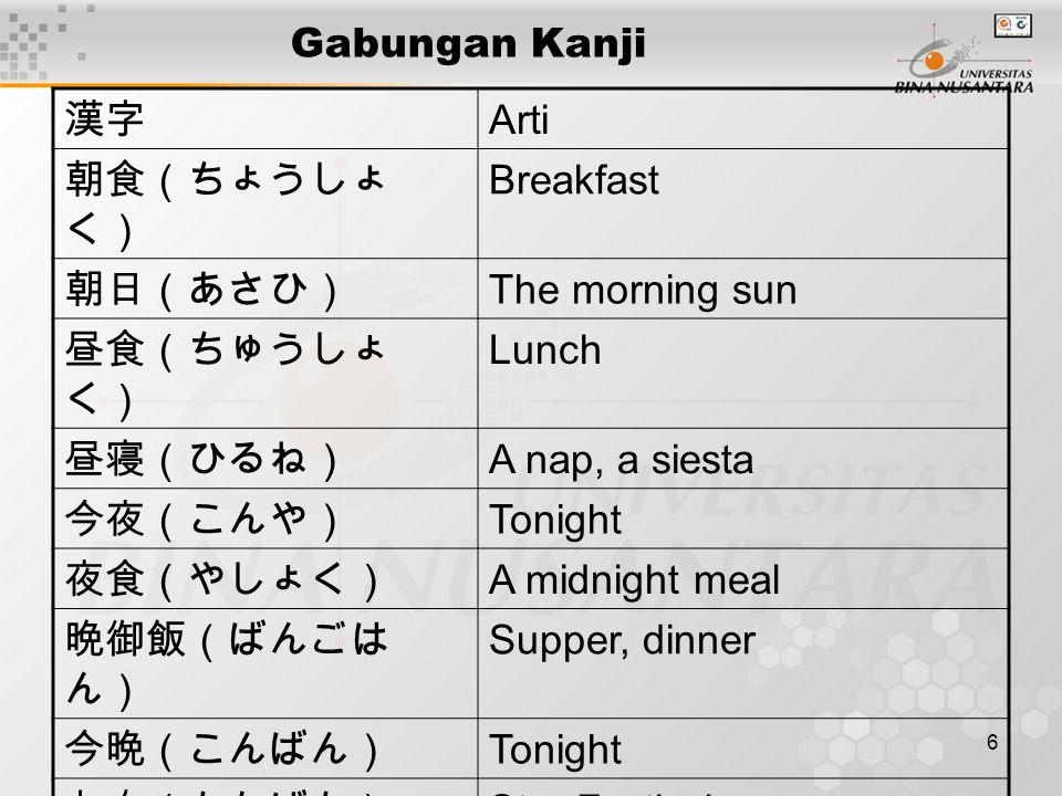 6 Gabungan Kanji 漢字 Arti 朝食(ちょうしょ く) Breakfast 朝日(あさひ) The morning sun 昼食(ちゅうしょ く) Lunch 昼寝(ひるね) A nap, a siesta 今夜(こんや) Tonight 夜食(やしょく) A midnight meal 晩御飯(ばんごは ん) Supper, dinner 今晩(こんばん) Tonight 七夕(たなばた) Star Festival 夕食(ゆうしょく) Supper, dinner