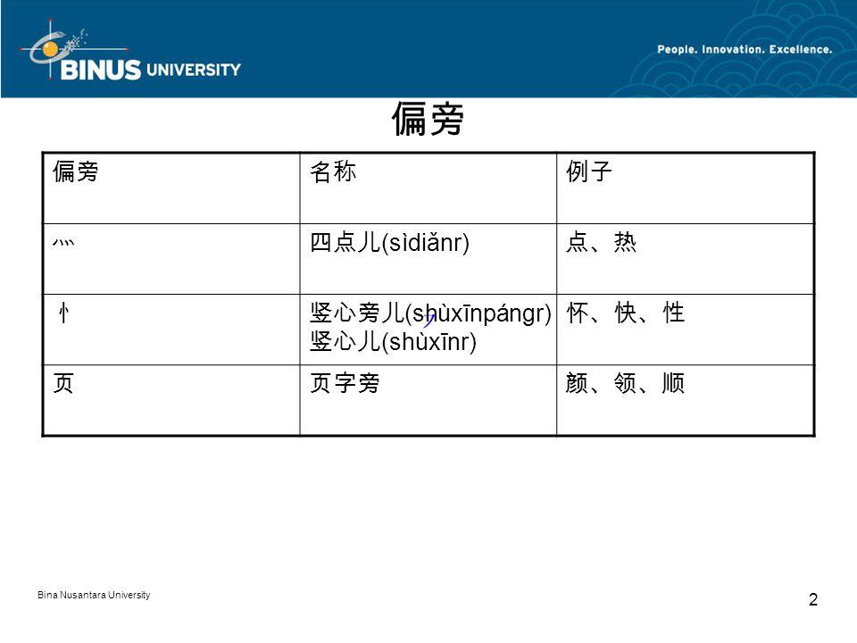 Bina Nusantara University 2 偏旁 名称例子 灬四点儿 (sìdiǎnr) 点、热 忄竖心旁儿 (shùxīnpángr) 竖心儿 (shùxīnr) 怀、快、性 页页字旁颜、领、顺