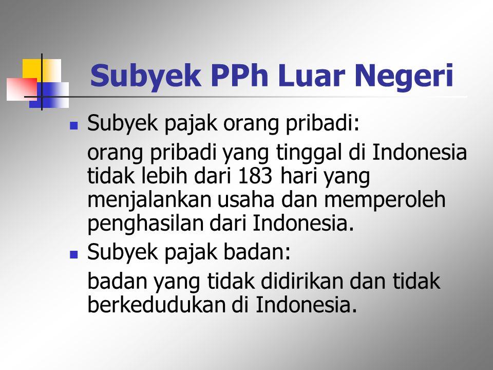 Subyek PPh Dalam Negeri Subyek pajak orang pribadi: orang pribadi yang tinggal di Indonesia lebih dari 183 hari dalam jangka waktu 12 bulan atau yang
