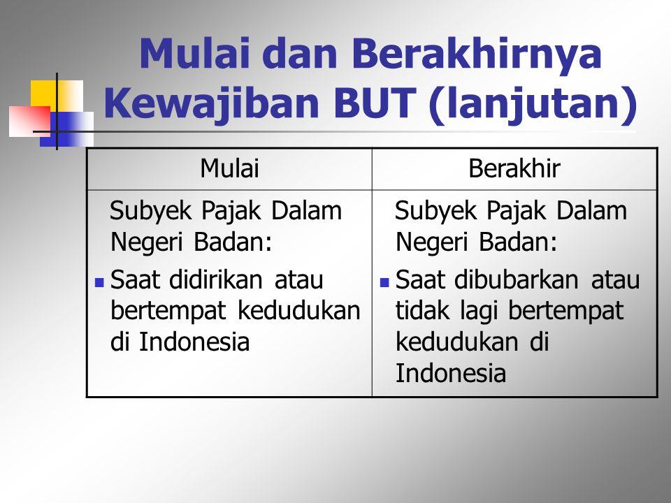 Mulai dan Berakhirnya Kewajiban BUT Mulaiberakhir Subyek pajak dalam negeri orang pribadi: Saat dilahirkan Saat berada di Indonesia atau bertempat tin