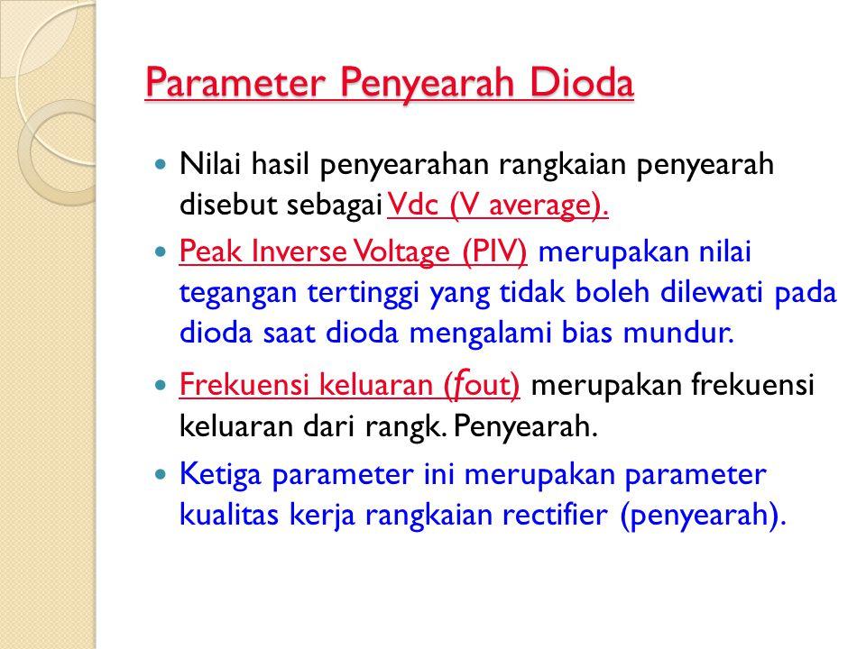 Parameter Penyearah Dioda Nilai hasil penyearahan rangkaian penyearah disebut sebagai Vdc (V average). Peak Inverse Voltage (PIV) merupakan nilai tega