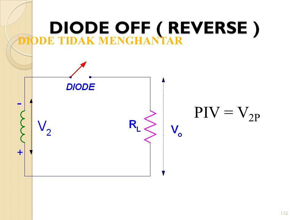 112 DIODE OFF ( REVERSE ) DIODE TIDAK MENGHANTAR PIV = V 2P