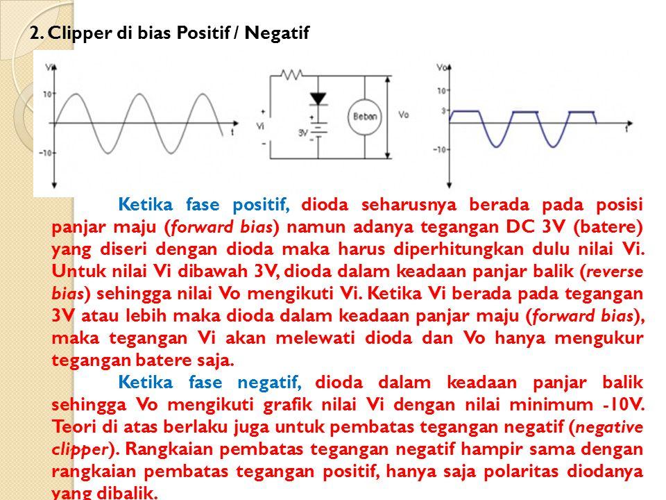 Ketika fase positif, dioda seharusnya berada pada posisi panjar maju (forward bias) namun adanya tegangan DC 3V (batere) yang diseri dengan dioda maka