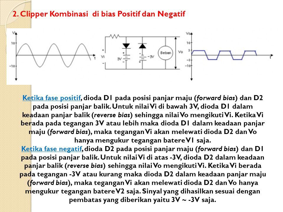 Ketika fase positif, dioda D1 pada posisi panjar maju (forward bias) dan D2 pada posisi panjar balik. Untuk nilai Vi di bawah 3V, dioda D1 dalam keada