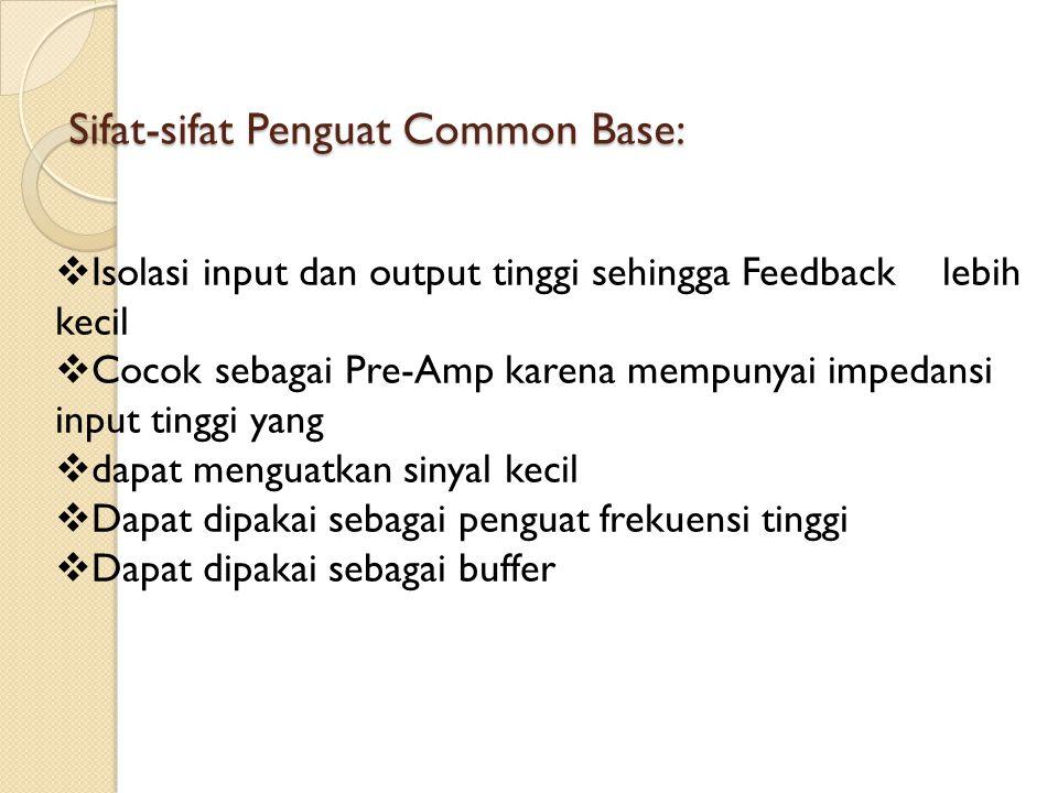 Sifat-sifat Penguat Common Base:  Isolasi input dan output tinggi sehingga Feedback lebih kecil  Cocok sebagai Pre-Amp karena mempunyai impedansi in