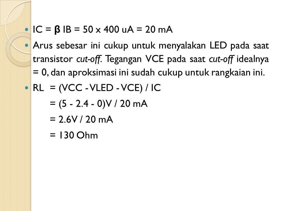 IC = β IB = 50 x 400 uA = 20 mA Arus sebesar ini cukup untuk menyalakan LED pada saat transistor cut-off. Tegangan VCE pada saat cut-off idealnya = 0,