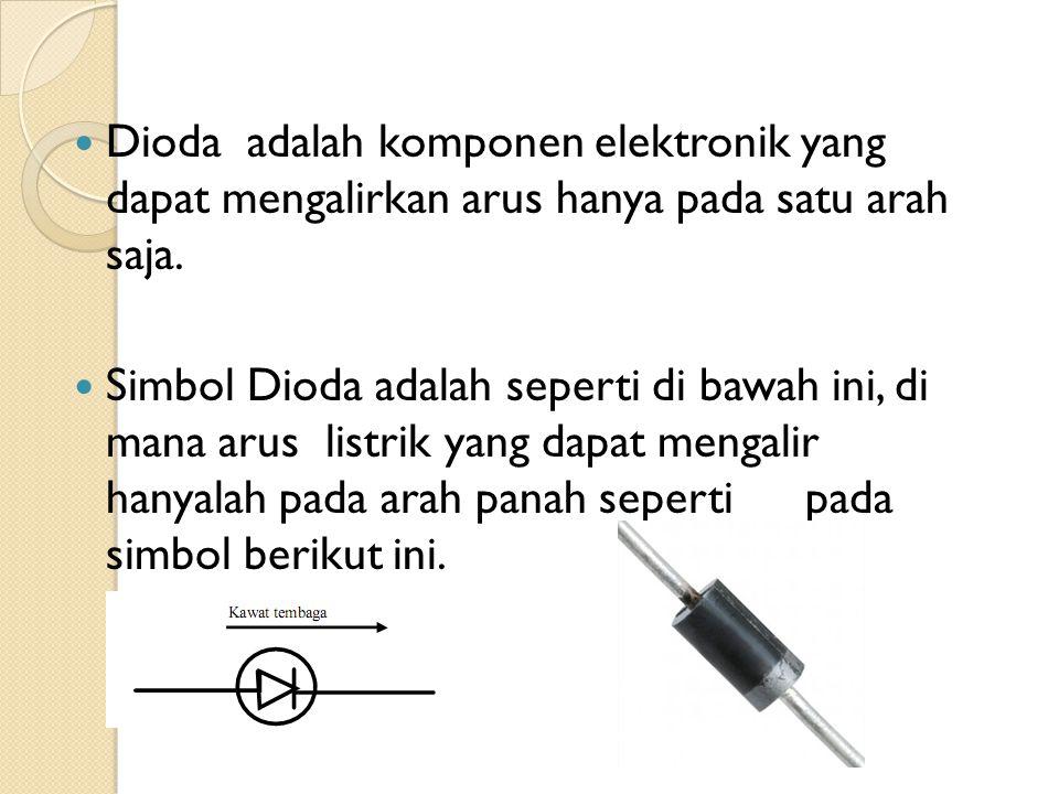 Dioda adalah komponen elektronik yang dapat mengalirkan arus hanya pada satu arah saja. Simbol Dioda adalah seperti di bawah ini, di mana arus listrik