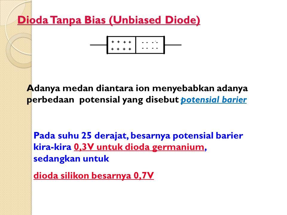 Dioda Tanpa Bias (Unbiased Diode) Adanya medan diantara ion menyebabkan adanya perbedaan potensial yang disebut potensial barier Pada suhu 25 derajat,