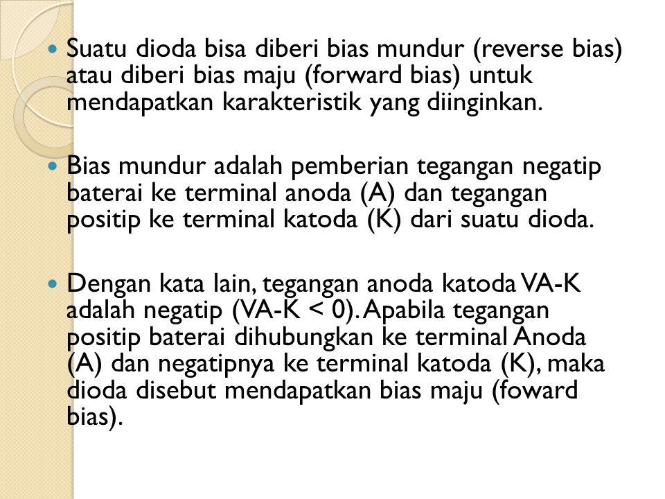 Suatu dioda bisa diberi bias mundur (reverse bias) atau diberi bias maju (forward bias) untuk mendapatkan karakteristik yang diinginkan. Bias mundur a