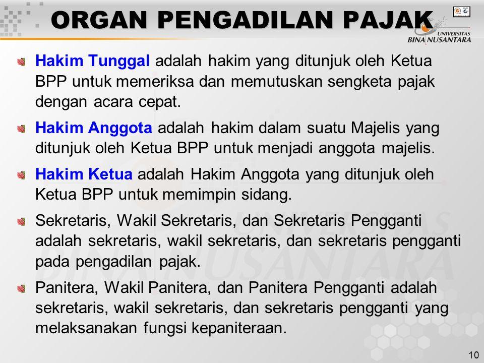 10 ORGAN PENGADILAN PAJAK Hakim Tunggal adalah hakim yang ditunjuk oleh Ketua BPP untuk memeriksa dan memutuskan sengketa pajak dengan acara cepat. Ha