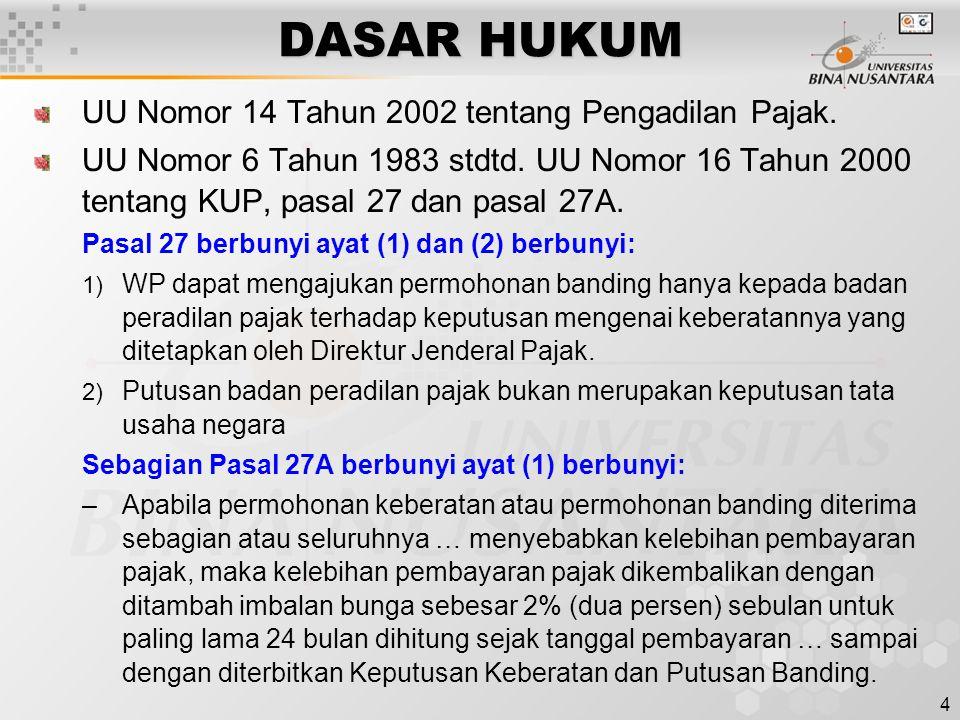 4 DASAR HUKUM UU Nomor 14 Tahun 2002 tentang Pengadilan Pajak. UU Nomor 6 Tahun 1983 stdtd. UU Nomor 16 Tahun 2000 tentang KUP, pasal 27 dan pasal 27A