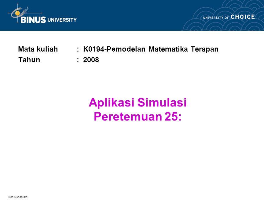 Bina Nusantara Aplikasi Simulasi Peretemuan 25: Mata kuliah: K0194-Pemodelan Matematika Terapan Tahun: 2008