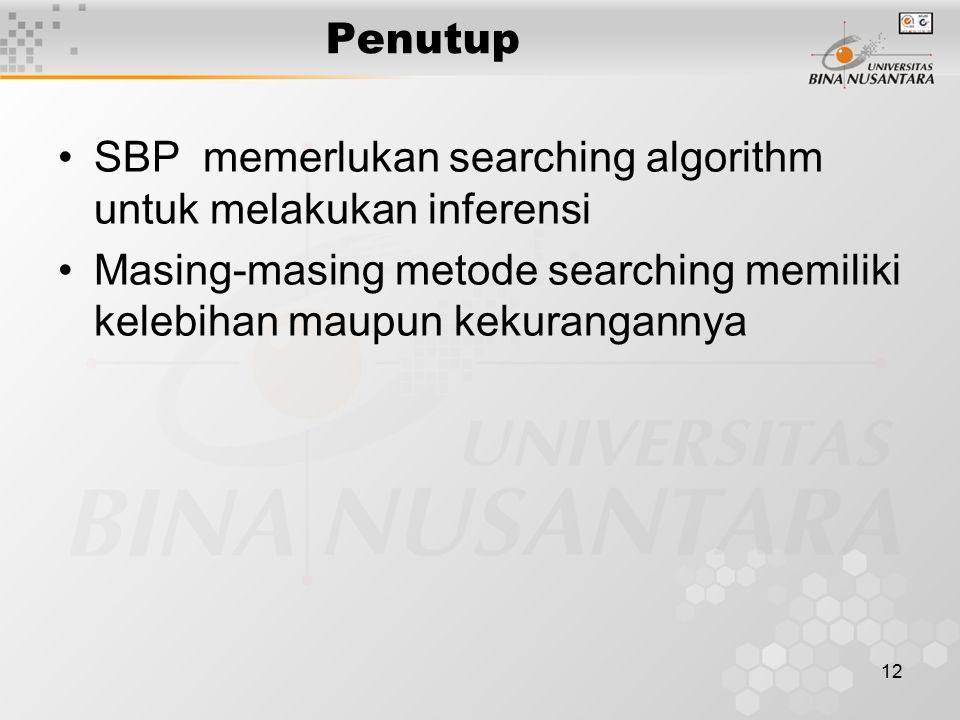 12 Penutup SBP memerlukan searching algorithm untuk melakukan inferensi Masing-masing metode searching memiliki kelebihan maupun kekurangannya
