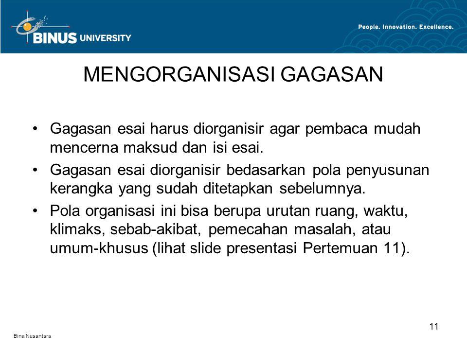 Bina Nusantara Gagasan esai harus diorganisir agar pembaca mudah mencerna maksud dan isi esai.