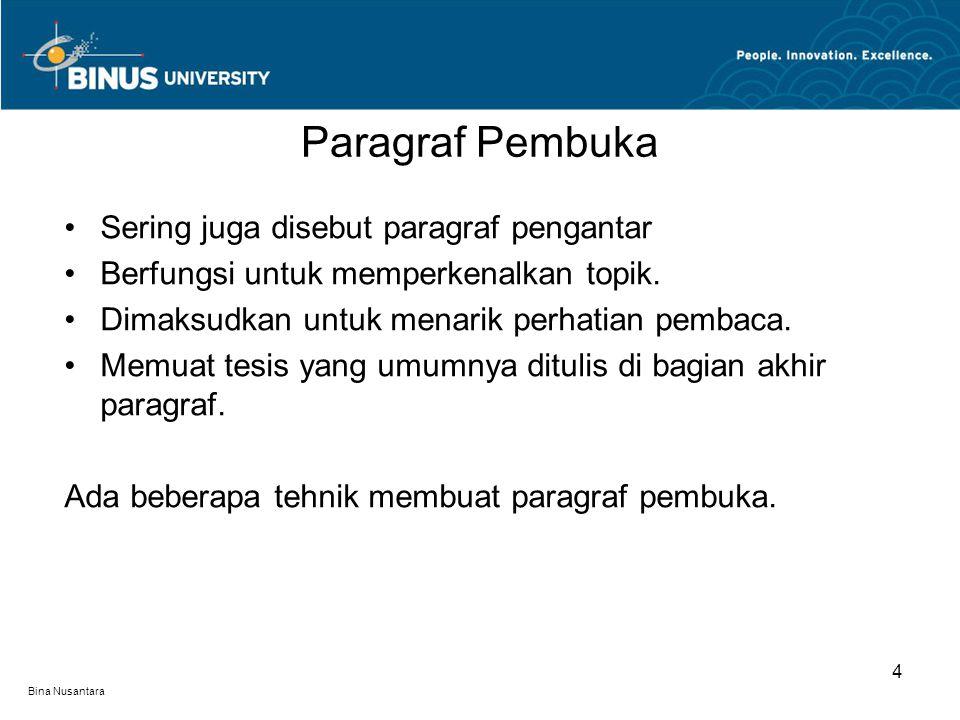 Bina Nusantara Sering juga disebut paragraf pengantar Berfungsi untuk memperkenalkan topik. Dimaksudkan untuk menarik perhatian pembaca. Memuat tesis