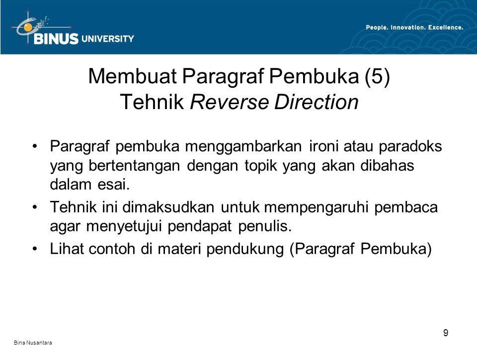Bina Nusantara Paragraf pembuka menggambarkan ironi atau paradoks yang bertentangan dengan topik yang akan dibahas dalam esai. Tehnik ini dimaksudkan