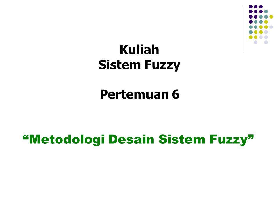 Mendifinisikan karakteristik model secara fungsional dan operasional Melakukan dekomposisi variabel model menjadi himpunan fuzzy Membuat aturan fuzzy Menentukan metode defuzzy untuk tiap-tiap variabel solusi Menjalankan simulasi sistem Pengujian, pengaturan dan validasi model Tahapan Perancangan Sistem Fuzzy