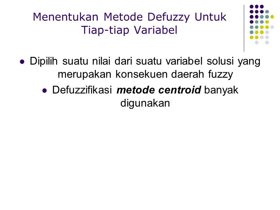 Menentukan Metode Defuzzy Untuk Tiap-tiap Variabel Dipilih suatu nilai dari suatu variabel solusi yang merupakan konsekuen daerah fuzzy Defuzzifikasi
