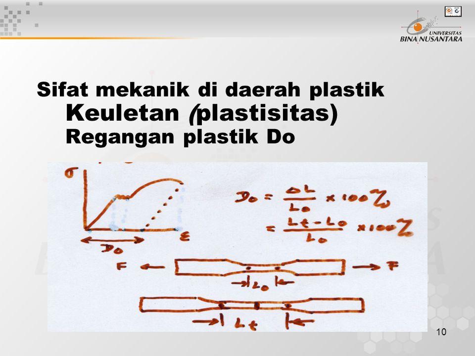 10 Sifat mekanik di daerah plastik Keuletan (plastisitas) Regangan plastik Do