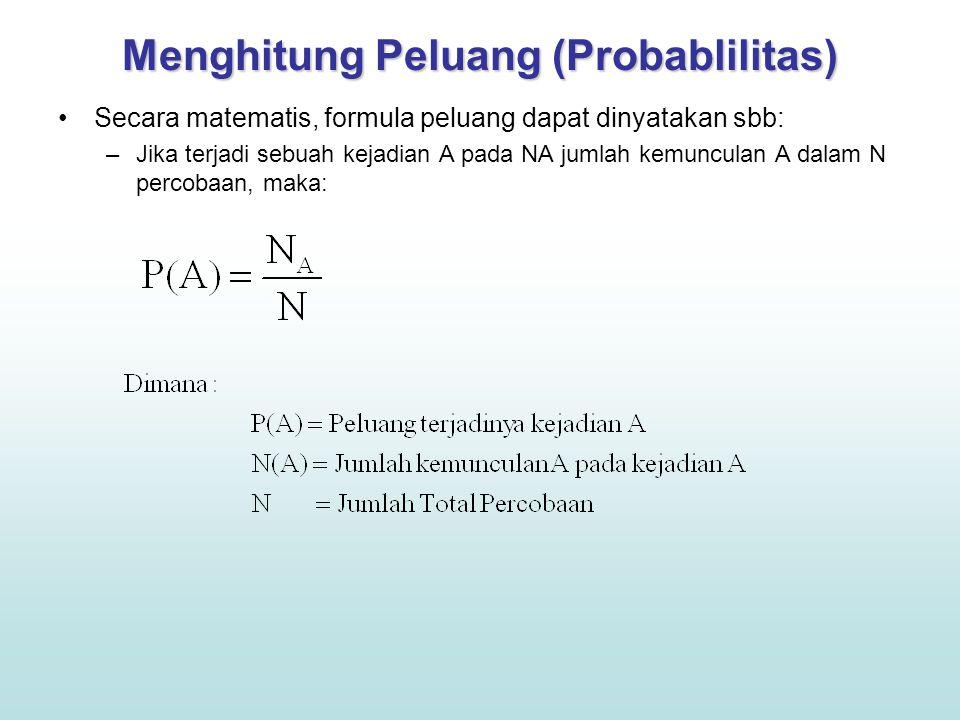 Menghitung Peluang (Probablilitas) Secara matematis, formula peluang dapat dinyatakan sbb: –Jika terjadi sebuah kejadian A pada NA jumlah kemunculan A dalam N percobaan, maka: