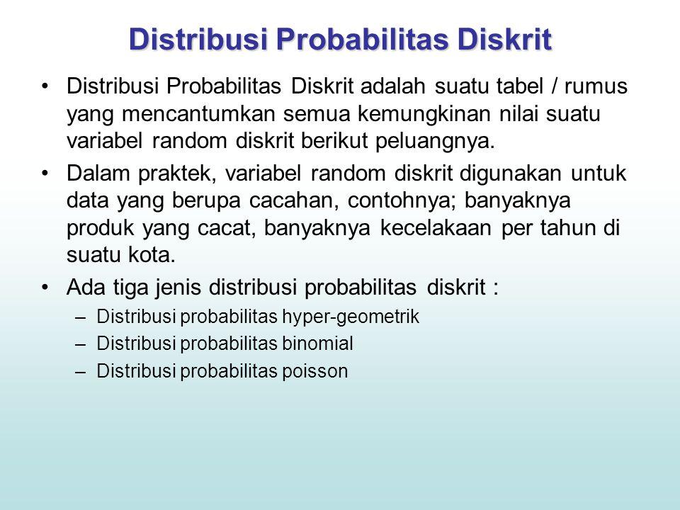 Distribusi Probabilitas Diskrit Distribusi Probabilitas Diskrit adalah suatu tabel / rumus yang mencantumkan semua kemungkinan nilai suatu variabel random diskrit berikut peluangnya.