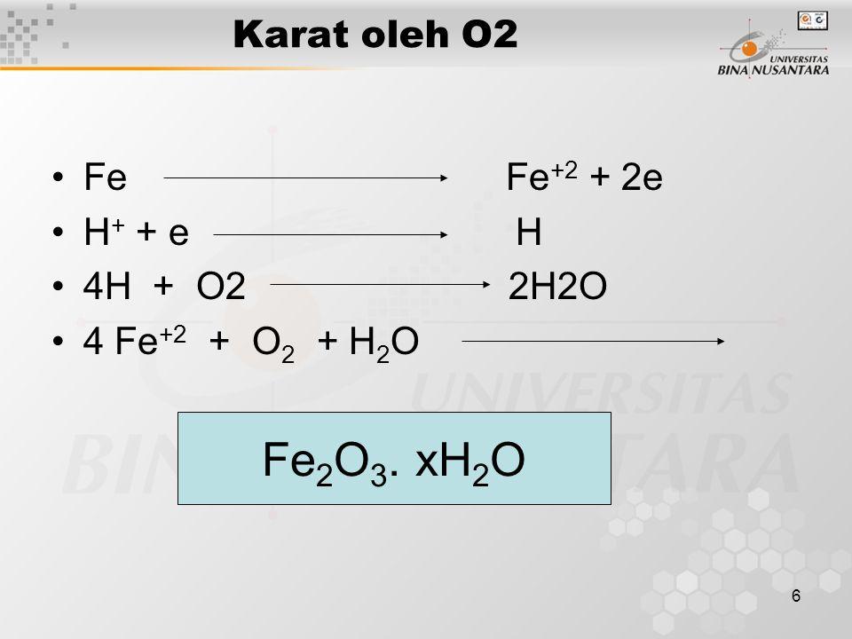 6 Karat oleh O2 Fe Fe +2 + 2e H + + e H 4H + O2 2H2O 4 Fe +2 + O 2 + H 2 O Fe 2 O 3. xH 2 O