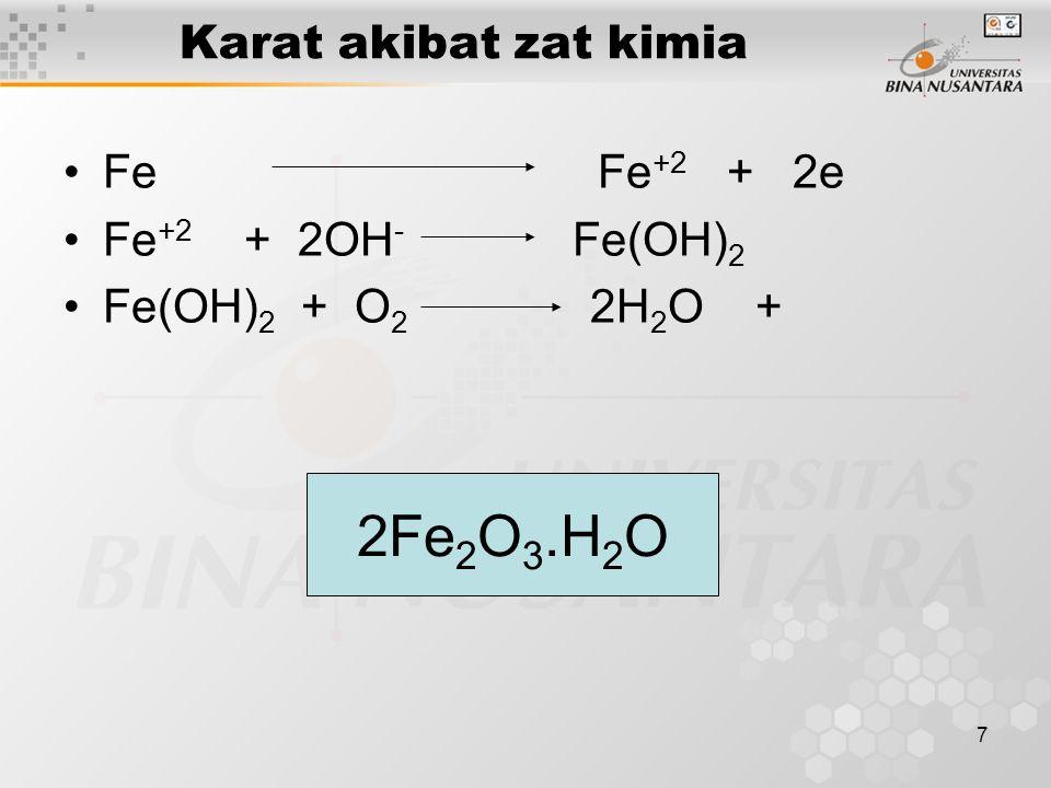 7 Karat akibat zat kimia Fe Fe +2 + 2e Fe +2 + 2OH - Fe(OH) 2 Fe(OH) 2 + O 2 2H 2 O + 2Fe 2 O 3.H 2 O
