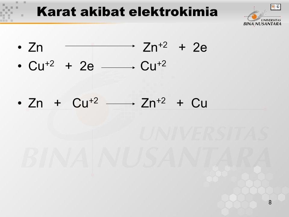 8 Karat akibat elektrokimia Zn Zn +2 + 2e Cu +2 + 2e Cu +2 Zn + Cu +2 Zn +2 + Cu
