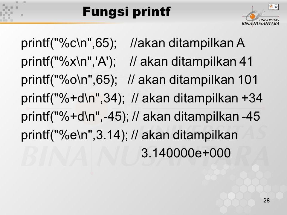 28 printf( %c\n ,65); //akan ditampilkan A printf( %x\n , A ); // akan ditampilkan 41 printf( %o\n ,65); // akan ditampilkan 101 printf( %+d\n ,34); // akan ditampilkan +34 printf( %+d\n ,-45); // akan ditampilkan -45 printf( %e\n ,3.14); // akan ditampilkan 3.140000e+000 Fungsi printf