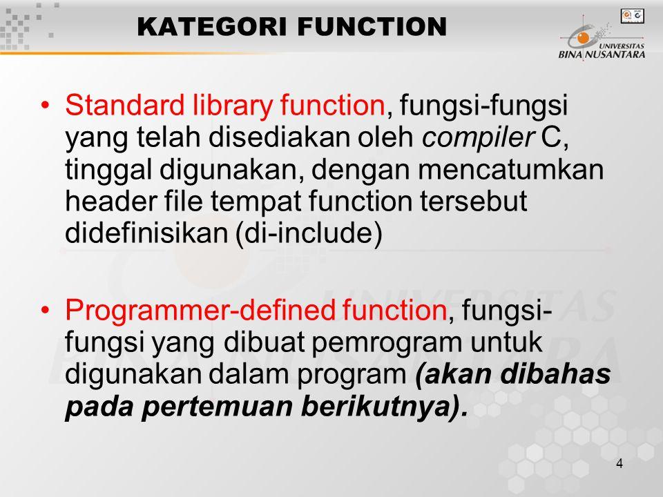 25 /** Program Luas_Segi_Empat **/ void main() { int panjang, lebar, luas;/* local variable */ printf( Panjang = ); scanf( %d ,&panjang); printf( Lebar = '); scanf( %d ,&lebar); luas = panjang * lebar; printf( Luas = %d\n , luas); } Fungsi printf