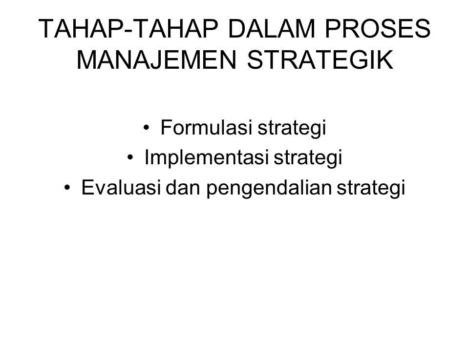 TAHAP-TAHAP DALAM PROSES MANAJEMEN STRATEGIK Formulasi strategi Implementasi strategi Evaluasi dan pengendalian strategi