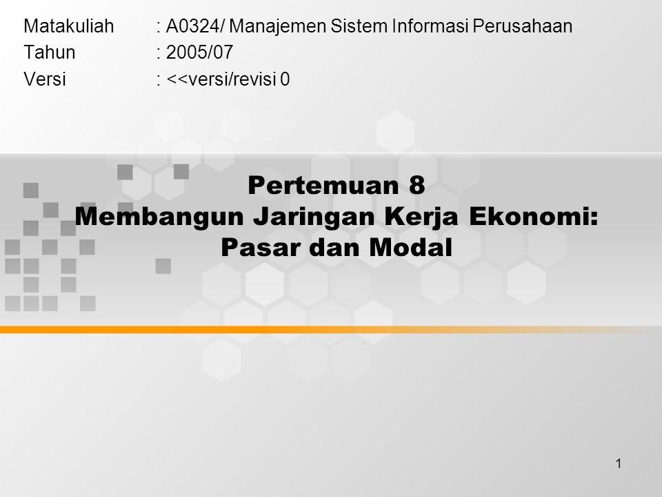 1 Pertemuan 8 Membangun Jaringan Kerja Ekonomi: Pasar dan Modal Matakuliah: A0324/ Manajemen Sistem Informasi Perusahaan Tahun: 2005/07 Versi: <<versi/revisi 0