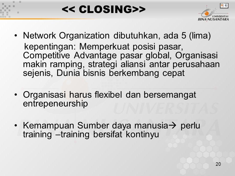 20 > Network Organization dibutuhkan, ada 5 (lima) kepentingan: Memperkuat posisi pasar, Competitive Advantage pasar global, Organisasi makin ramping, strategi aliansi antar perusahaan sejenis, Dunia bisnis berkembang cepat Organisasi harus flexibel dan bersemangat entrepeneurship Kemampuan Sumber daya manusia  perlu training –training bersifat kontinyu