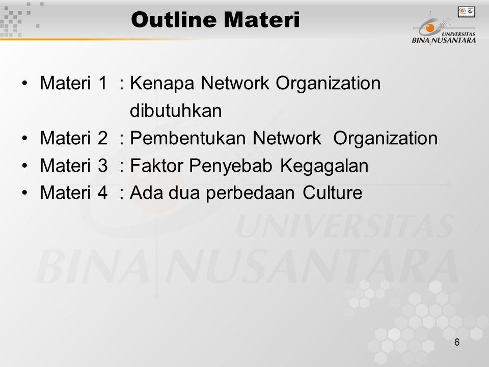 6 Outline Materi Materi 1: Kenapa Network Organization dibutuhkan Materi 2 : Pembentukan Network Organization Materi 3: Faktor Penyebab Kegagalan Materi 4: Ada dua perbedaan Culture