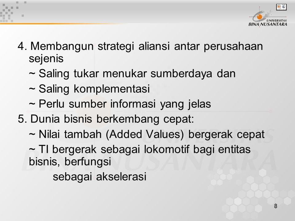 8 4. Membangun strategi aliansi antar perusahaan sejenis ~ Saling tukar menukar sumberdaya dan ~ Saling komplementasi ~ Perlu sumber informasi yang je