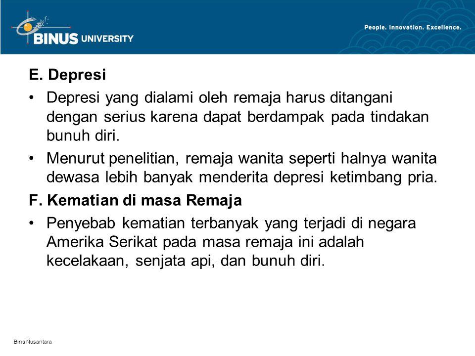 Bina Nusantara E. Depresi Depresi yang dialami oleh remaja harus ditangani dengan serius karena dapat berdampak pada tindakan bunuh diri. Menurut pene