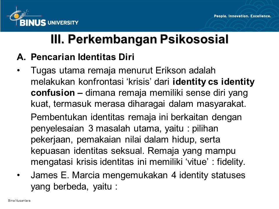 Bina Nusantara III. Perkembangan Psikososial A.Pencarian Identitas Diri Tugas utama remaja menurut Erikson adalah melakukan konfrontasi 'krisis' dari