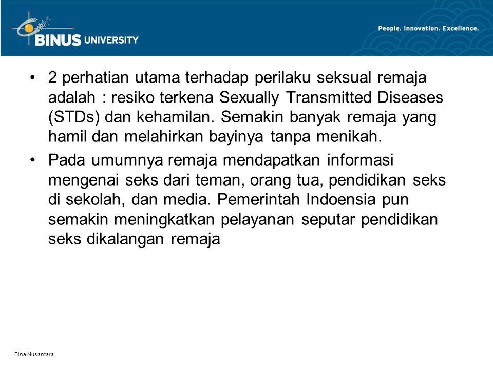 Bina Nusantara 2 perhatian utama terhadap perilaku seksual remaja adalah : resiko terkena Sexually Transmitted Diseases (STDs) dan kehamilan. Semakin