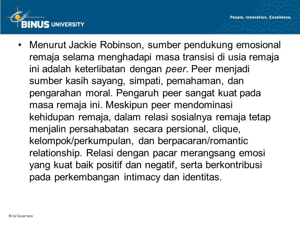 Bina Nusantara Menurut Jackie Robinson, sumber pendukung emosional remaja selama menghadapi masa transisi di usia remaja ini adalah keterlibatan denga