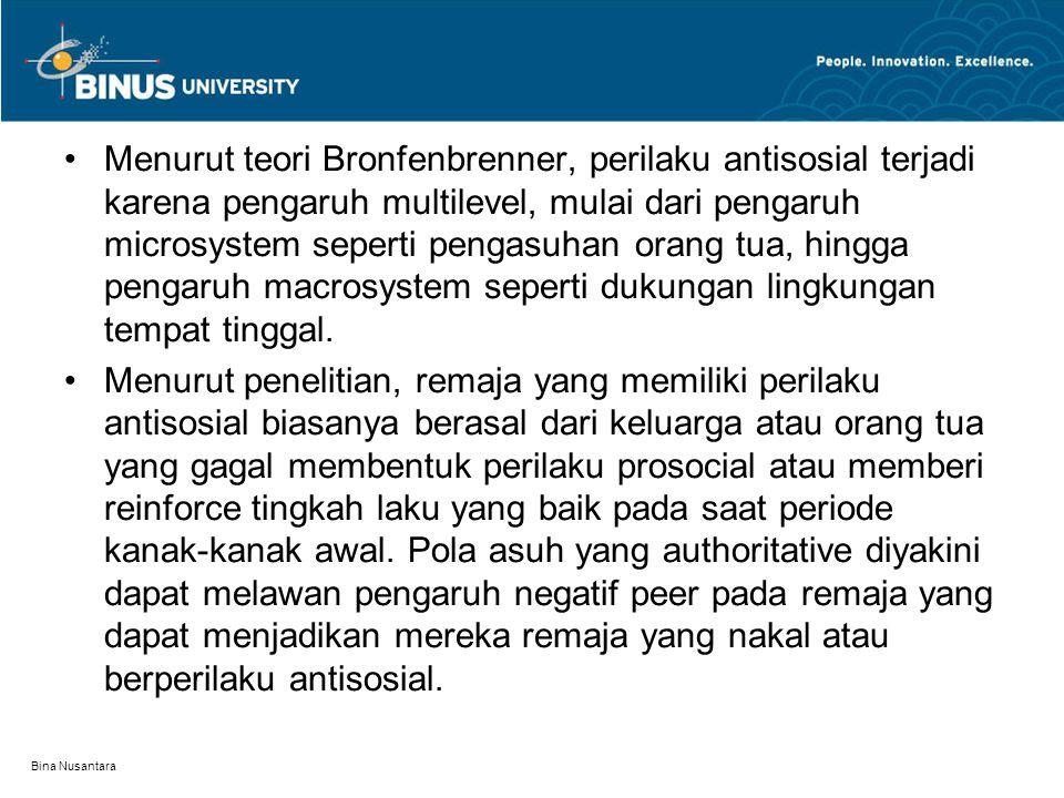 Bina Nusantara Menurut teori Bronfenbrenner, perilaku antisosial terjadi karena pengaruh multilevel, mulai dari pengaruh microsystem seperti pengasuha